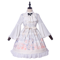 2018 Original Women Long Sleeves Printing Bowknot Cute Sweet Lolita Dress New Year Lotus Dress And T shirt Lolita Set