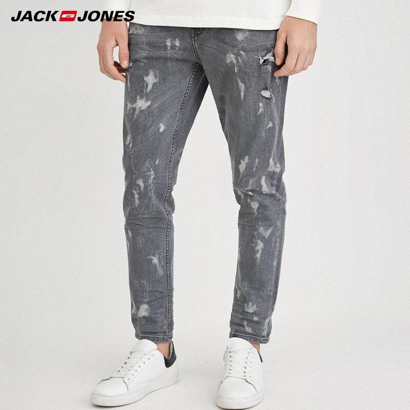 Jack & Jones Men's Spring & Summer Frayed Crop   Jeans   |218132586