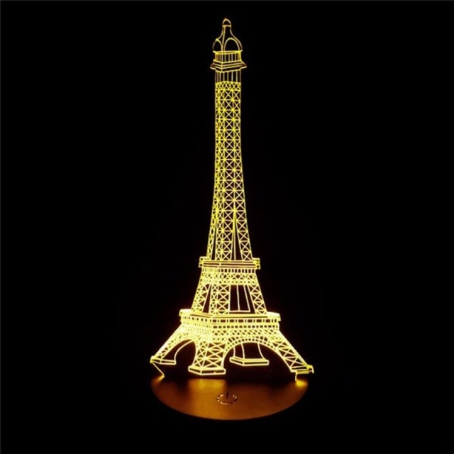 3d led romantic france eiffel tower night light rgb changeable mood lamp usb decorative table. Black Bedroom Furniture Sets. Home Design Ideas
