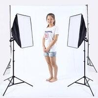 Фото светлый софтбокс комплект фотографического оборудования фон стенд 2 шт. 175 Вт лампы 2x3 Фон Стенд Комплект Белый фон из муслина