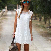 2019 Women Sexy Lace Flare Sleeveless Mini Short Beach Dresses For Women Solid White Hollow Out Loose Casual Beach Dresses Girls