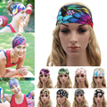 2017 Fashion Women Korean Flower Printed Headbands High Elastic Hair Band  Running Yoga Washing Headband for Girl Female H1