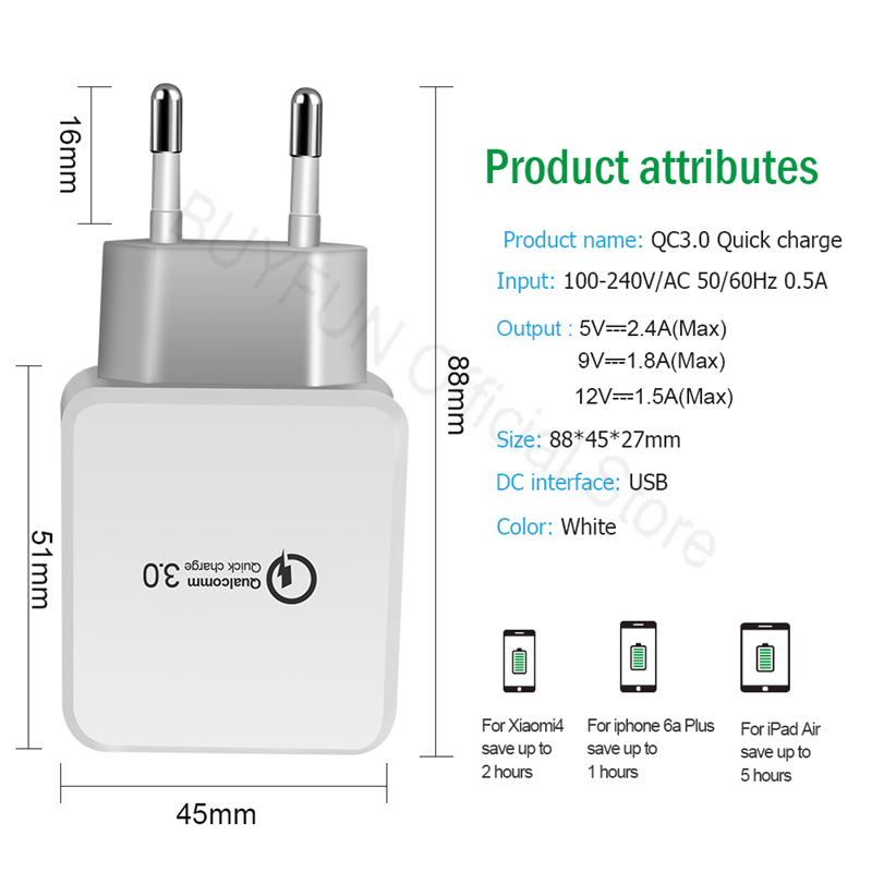 QC3.0 Quick Charge Wall Charger Android Cable Phone Charger Cable For Samsung Xiaomi Huawei Sony Adapter Micro-USB Data Cord 1M
