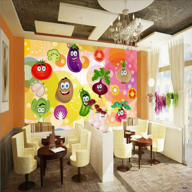 Online Shop Custom 3D Non-Woven Wallpaper for Vegetables Fruit Shop ...