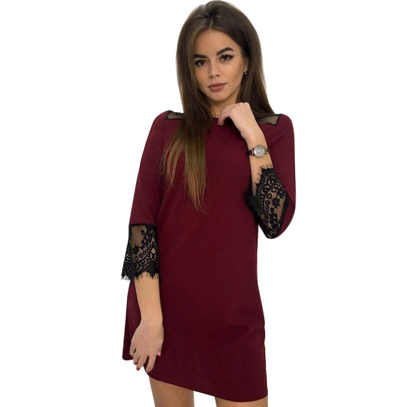 OL vintage Dress Women Spring Summer O-Neck 3/4 Sleeve Lace Stitching Dresses Mini Wine Red Green Vestidos