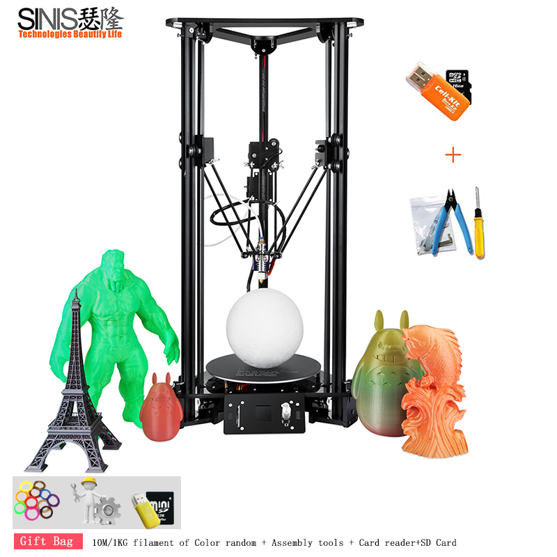 High Precision Smart Leveling Remote Feeding BMP Version High Precision Delta 3D Printer Kit With Optional 1000MW Laser Engraver