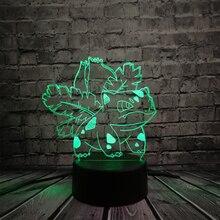 Japanese Anime Pokemon Pokeball Animal Frog Ivysaur 3D Lamp Kids Toy Multicolor USB LED Table Night Light Children Gift Decor