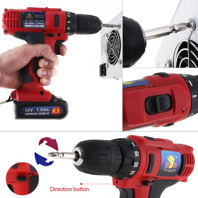 AC 100 - 240V Cordless 12V Electric Drill / Screwdriver with 18 Gear Torque and Two-speed Adjustment for Screws / Punching 3