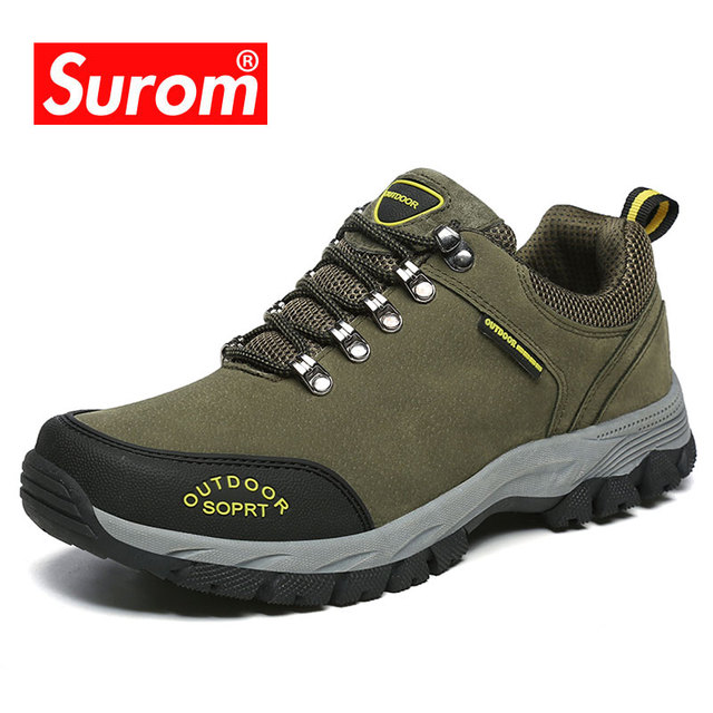 SUROM Men Leather Casual Shoes Spring Autumn Male Comfortable Sneakers Genuine Suede Fur Waterproof Outdoor Shoes Size 39-47