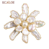KCALOE Natural Shell Pearl Brooch Pins Fashion Big Flower Wedding Dress Broches Women Gold Color Brooches Woman Accesoires