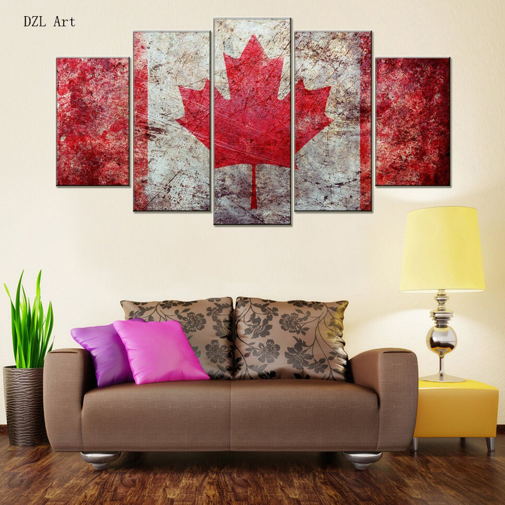 Drop shipping 5 sets panelsflag of canada print on canvas large canvas painting for bedroom wall art for home decor in painting calligraphy from home