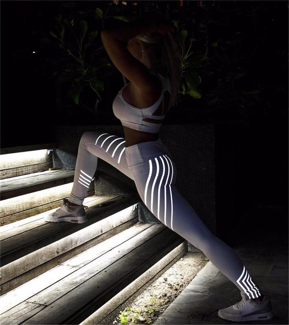 Women High Waist Elasticity Black Leggings Winter Fitness Slim Workout Sporting Leggings Breathable Shine White Pants Female