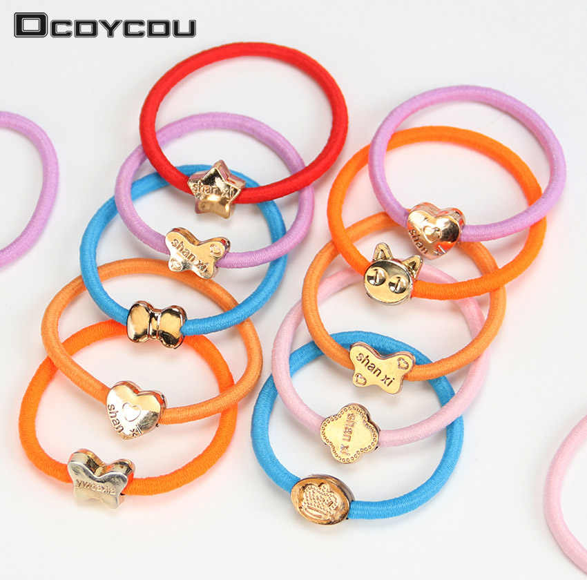 10PCS Candy Colored Hair Holders High Quality Cartoon Colorful Girl Women Tie Gum Rubber Bands Hair Elastic Accessories