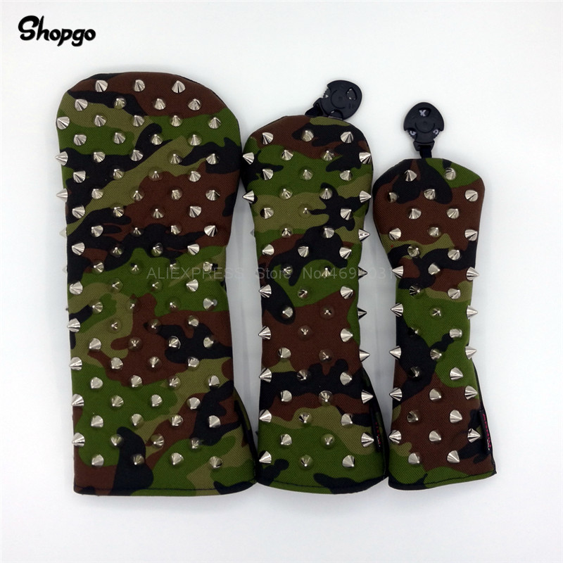 [Silver Rivets] Premium Camouflage Golf Headcovers Golf Driver Fairway Woods Rescue Covers Complete Set Mascot Novelty Gift