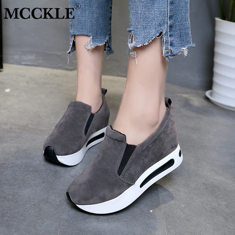MCCKLE Women Spring Elastic Band Flat Platform Shoes Female Casual Breathable creepers Shoe Woman Slimming Flats Sneakers phyanic 2017 gladiator sandals gold silver shoes woman summer platform wedges glitters creepers casual women shoes phy3323