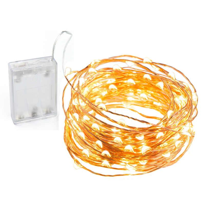 LED Tembaga/Kawat Perak String Lampu 2 M 3 M 5 M 10 M 3AA Dioperasikan Natal Pernikahan dekorasi Pesta LED String Lampu Peri