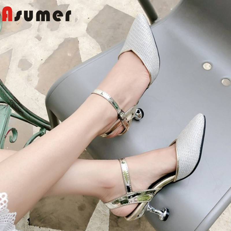 ASUMER blue gold white fashion spring autumn shoes plus size 33-45woman pointed toe buckle elegant sandal women high heels shoesASUMER blue gold white fashion spring autumn shoes plus size 33-45woman pointed toe buckle elegant sandal women high heels shoes