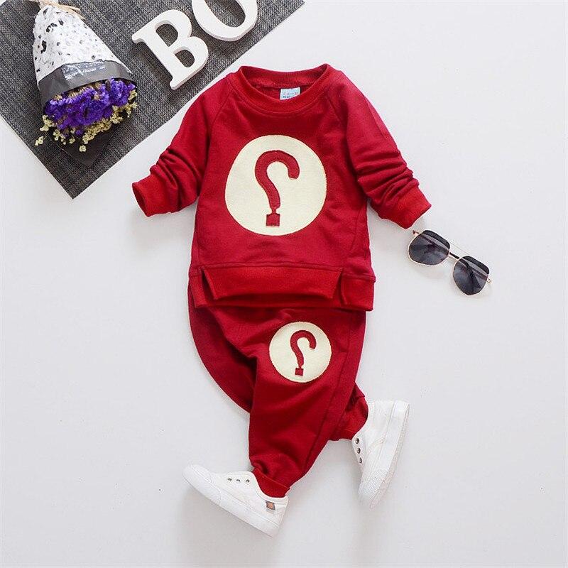 Baby boy clothes sets 2018 Autumn baby clothing Question mark Cotton Shirt+Pants 2pcs/set Fashion childrens costumes Infant