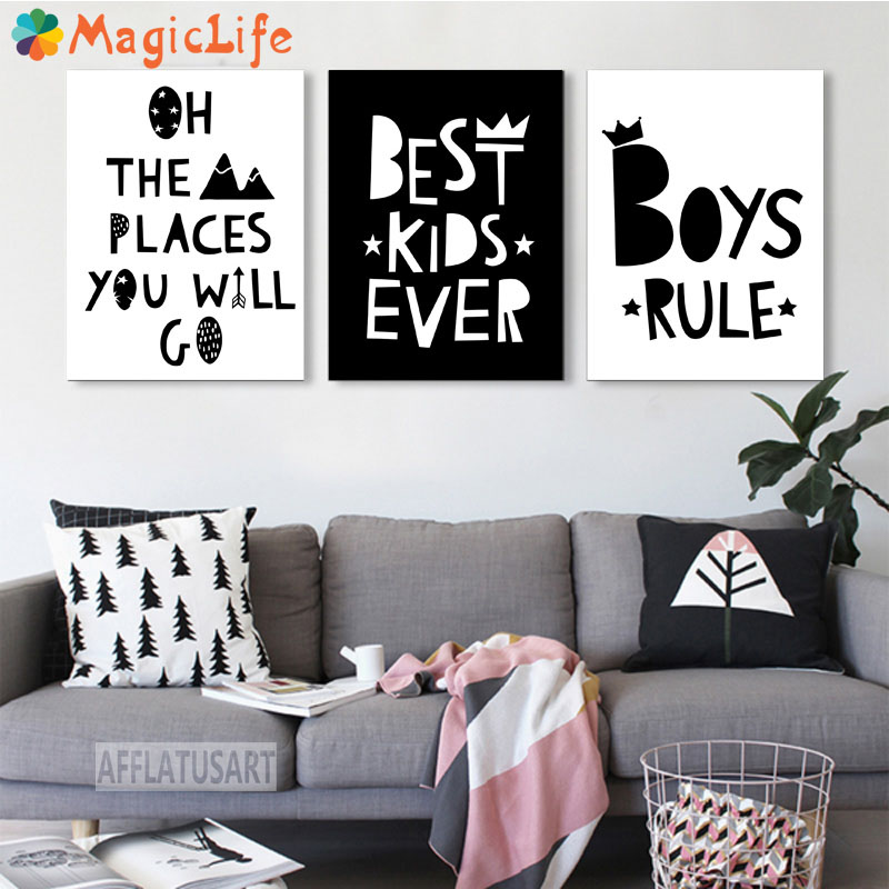 Cartoon Motivational Quotes Decor Wall Art Canvas Painting Nordic Posters Black White Pictures Unframed