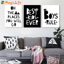 Cartoon Motivational Quotes Decor Wall Art Canvas Painting Nordic Posters Black White Wall Pictures Unframed все цены