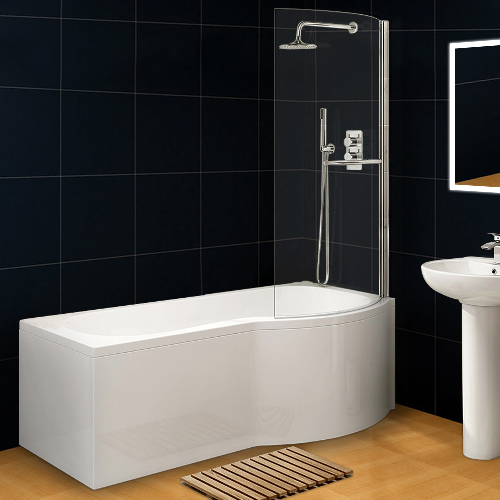 Curved P Shape R Hand Bath Wihte Acrylic Front Panel+End Panel+6mm ...