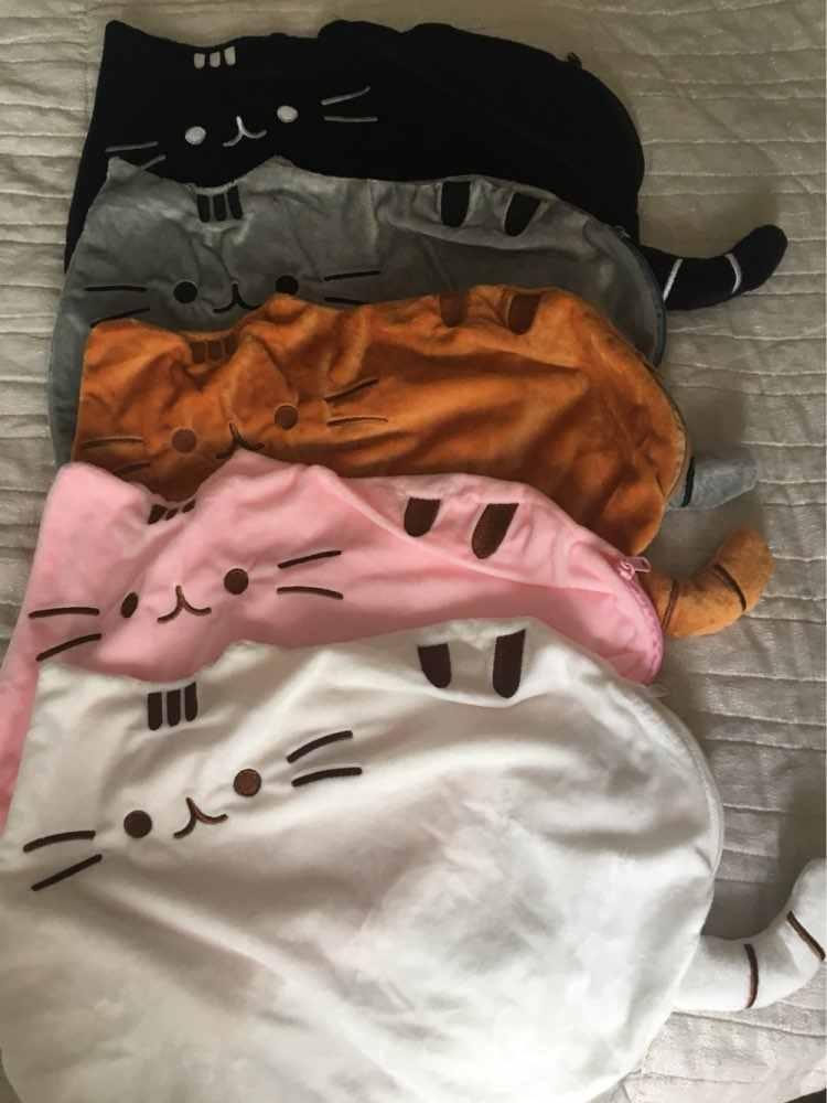 Новая Kawaii плюшевая подушка с кошкой на молнии только кожа без полипропиленовых хлопковых печенья детские игрушки большая подушка чехол подарки 40*30 см
