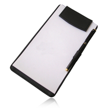 A6 Size PU Leather Restaurant Menu Folders Serving Hand-Held Writing Pad With Pen Slot Hotel Stationery Supplies Black Clipboard