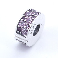 Purple Mosaic Shining Spacer Clip Charms 925 Sterling Silver Jewelry beads DIY Making Fit European Charm Bracelet & Necklace