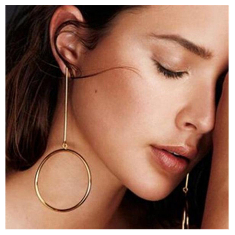 E086 Fashion Gold Color Hoop Earrings For Women Large Circle Round Long Earrings Hot Sale Party Wedding Jewelry Gift Wholesale