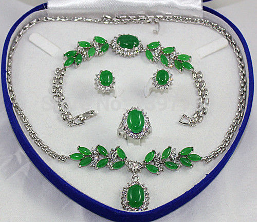 hot sell new – Miss charm Jew.179 Green Jade Necklace Bracelet Earring Ring Sets (A0511)