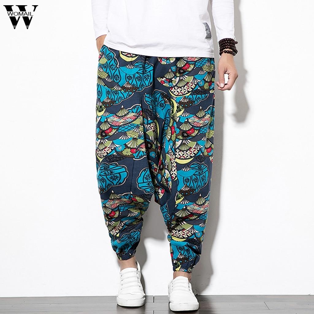 Womail Harem Pants Patchwork Printing Cotton Linen Vintage-Style Casual Pour Loose JL10