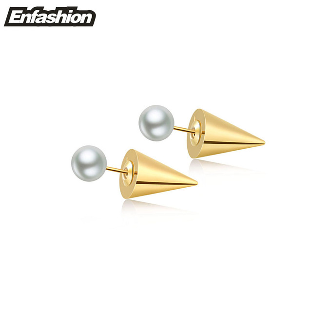 Spike Ear Studs With Pearl Earrings Double Sided Earring 24k Gold Plated Stud Stainless Steel