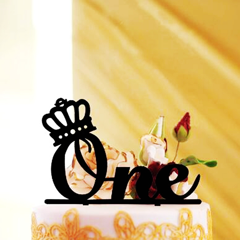10pcs One Princess Diamond Crown Cake Topper Wedding First Anniversary Marriage Child First Birthday 100 days Party Decoration