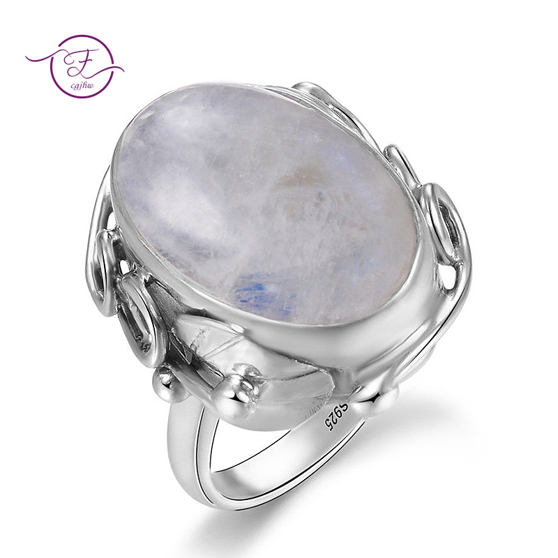 HTB1ZduyXOLrK1Rjy1zdq6ynnpXak Natural Moonstone rings For Men Women's 925 Sterling Silver Jewelry Ring With Big Stones 11x17MM Oval Gemstones Gifts Wholesale