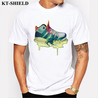 New Design Painted Shoes Printing Men T-shirt Short Sleeve Brand Casual Creative Tee Shirt Homme Hipster Male Top Tees