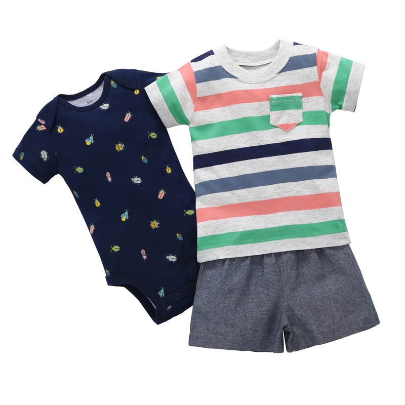2018 Top Jackets O-neck Baby Boys 2018 New Short Sleeves Colorful Stripe 3 Piece Clothes Set 0-24 Baby Boy Summer Costume For