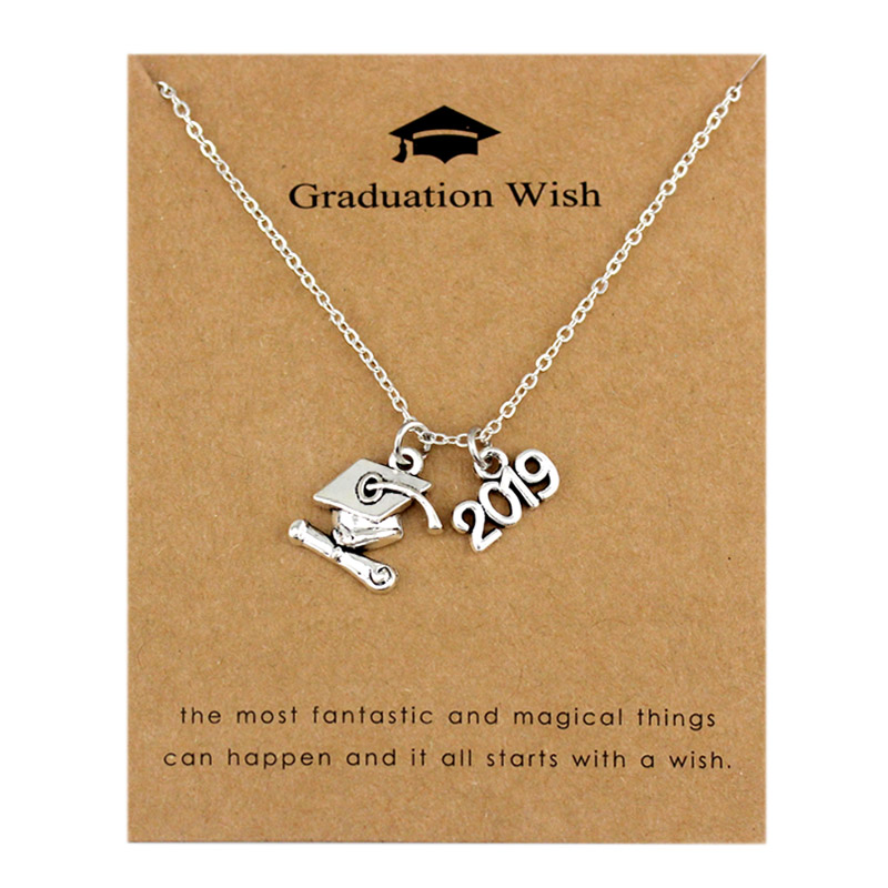 2019 2020 Graduation Pendants Necklaces Square College Cap Diploma Senior Charm Women Men Girl Boy Unisex Fashion Jewelry Gifts (China)