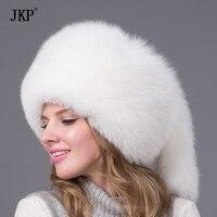 Fox Pieles de animales sombrero caliente invierno naturaleza mapache/Fox Pieles de animales Cap princesa estilo mujeres nueva moda caliente Pieles de animales sombrerería