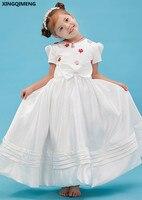 ชุดสาวดอกไม้น่ารักแขนสั้นผ้าซาตินชุดศีลมหาสนิทครั้งแรกโบว์สง่างามประกวดชุดสำหรับสาวน้...