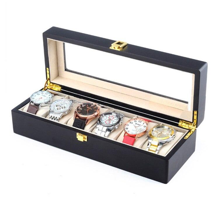 6 Slots Holz Uhr Display Box Schwarz MDF Uhr Veranstalter Fall Neue - Uhrenzubehör - Foto 4