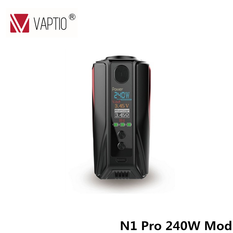 Original Vaptio Electronic Cigarette N1 Pro TC 240W Box Mod Temperature Control Electronic Hookah Shisha Vape mod 100% original electronic cigarette box mod vaptio n1 pro 240w box mod vape 240w ni ti ss tc mod fit 2 3 18650 battery without