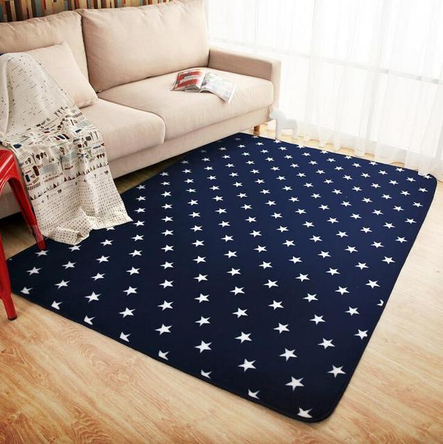 Mdct New Royal Blue White Stars Fleece Rug Carpet Kids Baby Room Soft Crawling Play Mats