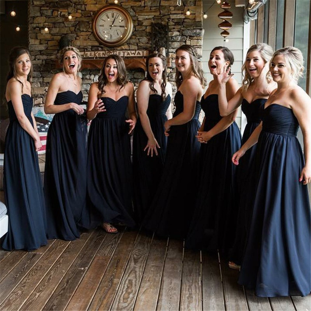 Navy Blue Pleat Chiffon Wedding Party Dress Strapless A Line Sleeveless Long Dresses For Bridesmaid 2019 Cheap Women Gowns