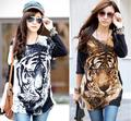 spring and autumn loose plus size top tiger pattern batwing sleeve medium-long t-shirt
