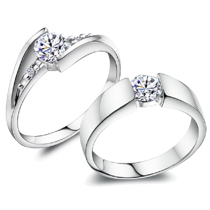 ᗑlove Silver Wedding Ring Set Engagement Jewellery Anelli Couple