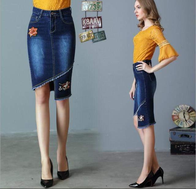 c7600650039e14 Europe S-4XL Floral Embroidery Pencil Jeans Denim Skirt Women Elegant  Office Work Irregular Denim