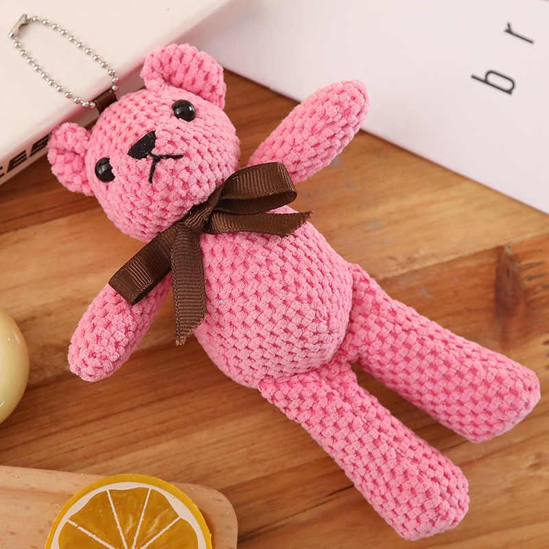 18cm קטן דובון צעצועי קטיפה בובת פרווה דוב בובת קטיפה צעצועים חמוד מפתח שרשרת תליון ילדים מתנה צבעוני זול צעצועים