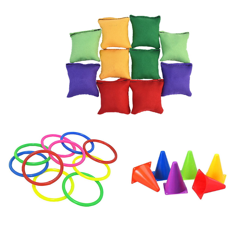 Outdoor Set Of Circular Toys Parent And Child Game Shooting Hoop Rainbow Music Cup Tower Puzzle Toy Plastic Ring