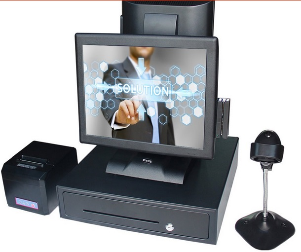 high qualitypoint of sale shop cash register  pos all in one cashier machine with cash drawer 80 receipt printer barcode scanner most complete supermarket pos system touch pos all in one cash register machine with scanner printer cash drawer display msr