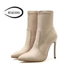 SHUNRUYAN/Новинка 2018 г. женская обувь из флока, большие размеры 35-42, зимние теплые короткие сапоги, обувь для вечеринок на высоком каблуке с